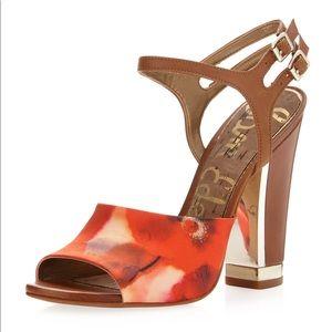 Sam Edelman floral ankle strap gold heel Sz 11